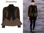 Rooney Mara's Givenchy Military Wool Jacket and ASOS Playsuit With Shirt Detail