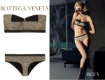 Rosie Huntington-Whiteley's Bottega Veneta Basket Print Bandeau Bikini