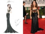 Salma Hayek In Gucci - 2012 Golden Globe Awards