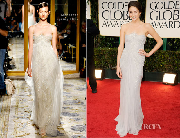 Shailene Woodley In Marchesa 2012 Golden Globe Awards