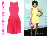 Solange Knowles' Christopher Kane Neon Pleated Wool Blend Crepe Dress