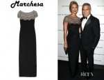Stacy Keible's Marchesa Embellished Silk-Crepe Column Gown