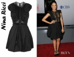 Tamera Mowry's Nina Ricci Ruched Taffeta And Lace Dress