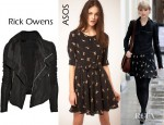 Taylor Swift's Rick Owens Textured Leather Biker Jacket And ASOS NW3 Annabel Cat Print Dress