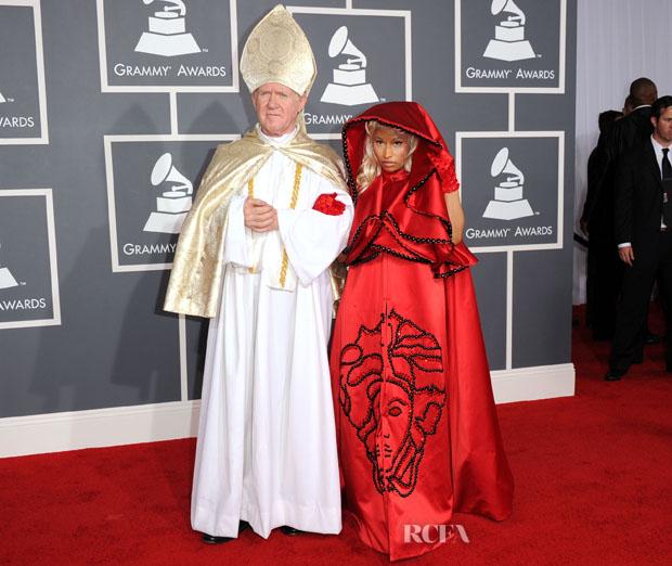 Nicki Minaj In Versace 2012 Grammy Awards Red Carpet