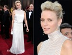 Princess Charlene Of Monaco In Akris - 2012 Oscars