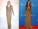 Angelina Jolie In Jenny Packham & Salvatore Ferragamo - 'In The Land Of Blood And Honey' Berlinale Film Festival