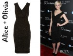 Ashlee Simpson's Alice + Olivia Glitter Finish Stretch Jersey Dress And Yves Saint Laurent Tribtoo Shoes