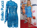Bar Refaeli's Emilio Pucci Asymmetric Lace Dress