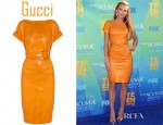 Blake Lively's Gucci Belted Nappa Leather Dress