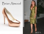 Rose McGowan's Brian Atwood Maniac Metallic Leather Platform Pumps