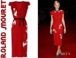 Carey Mulligan's Roland Mouret Leather Appliqué Crepe Dress
