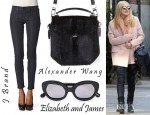 Dakota Fanning's J Brand '901' Coated Leggings, Alexander Wang 'Devere' Shoulder Bag And Elizabeth And James Crystal Studded Taylor Plastic Cateye Sunglasses