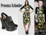 Dakota Fanning's Proenza Schouler Neoprene Leaf Dress And Proenza Schouler Embossed Leather & Patent Leather Slingback Wedge Sandals