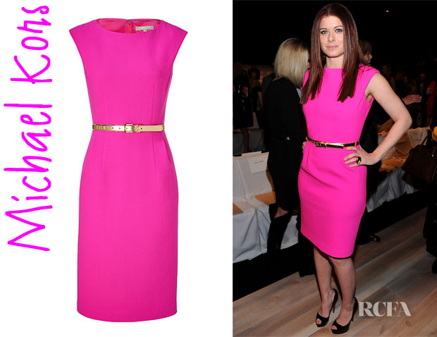 Who Debra Messing Wearing A Michael Kors Neon Pink Belted Sheath Dress