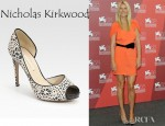Gwyneth Paltrow's Nicholas Kirkwood Platform Silk Peep Toe Pumps