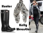 Hilary Duff's Hunter Original Tall Wellington Boots And Kelly Wearstler Serpent Printed Wool And Silk Blend Scarf