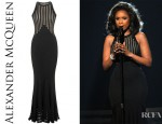 Jennifer Hudson's Alexander McQueen Black Fish Tail Knit Dress
