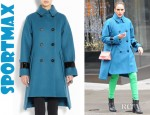 Jessica Alba's Sportmax Ussel Leather Trimmed Coat