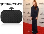 Julianne Moore's Bottega Veneta Knot Intrecciato Ayers And Satin Clutch