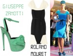 Katy Perry's Roland Mouret Annabelle Paneled Crepe Dress And Giuseppe Zanotti Suede Bow Platform Sandals