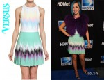 Katy Perry's Versus Printed Pleated Cady Stretch Dress