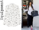 Kim Kardashian's Equipment Star Print Washed Silk Crepe De Chine Shirt