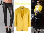 Kim Kardashian's Stella McCartney Shantung Blazer And Siwy Mick Leather Skinny Jeans