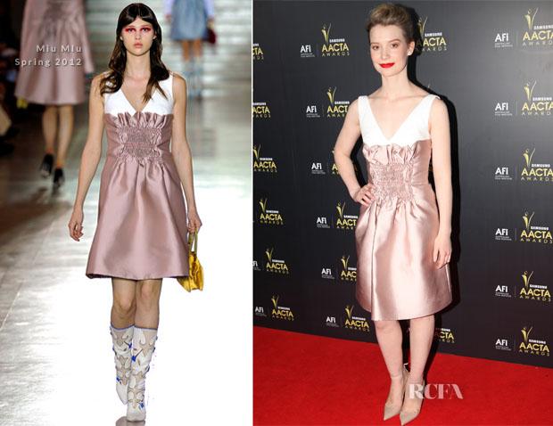 9a5f9422e61f Mia Wasikowska In Miu Miu - 2012 AAVTA Awards - Red Carpet Fashion ...