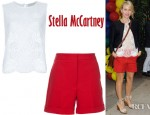 Naomi Watts' Stella McCartney Lace Detail Blouse And Stella McCartney Turn Up Hem Shorts