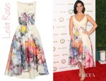 Olivia Munn's Lela Rose V Neck Dress With Full Skirt