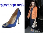 Olivia Palermo's Manolo Blahnik Hangisi Jewel Satin Point Toe Pumps