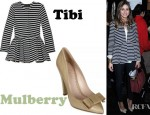 Olivia Palermo's Tibi Peplum Waist Striped Cotton Jacket And Mulberry Stitched Bow Leather Pumps