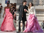 On The Set Of Gossip Girl With Leighton Meester In Oscar de la Renta