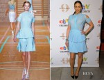 Paula Patton In Versus - eBay Celebrity and Brad Pitt's Make It Right Celebrate Pop-Up Gallery Exhibition