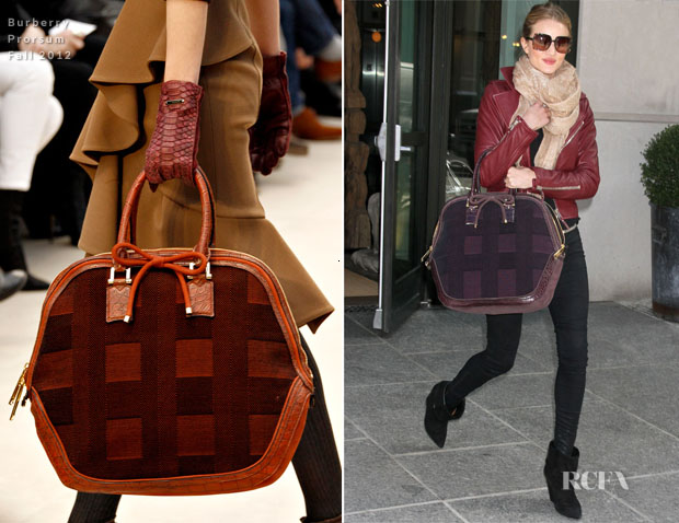 8a0fca26a1b Rosie Huntington-Whiteley s Burberry Prorsum Fall 2012 Bag - Red ...