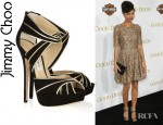 Thandie Newton's Jimmy Choo Koko Metallic Leather And Suede Sandals