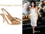 Vanessa Hudgens' Giuseppe Zanotti Metallic Leather Slingbacks