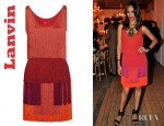 Zoe Saldana's Lanvin Tiered Fringe Silk Satin Dress