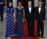 Samantha Cameron In Alessandra Rich & Michelle Obama In Marchesa - White House State Dinner