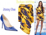 Alessandra Ambrosio's Thakoon Addition Asymmetrical Hem Dress And Jimmy Choo Leather Pumps