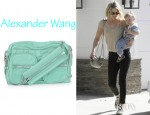 Ali Larter's Alexander Wang Brenda Chain Trimmed Leather Shoulder Bag