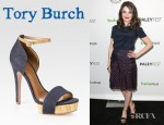 Alison Brie's Tory Burch Amina Linen And Leather Trim Platform Sandals