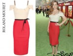 Amy Adams' Roland Mouret Herbert Crepe Wool And Blister Plisse Dress