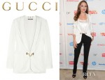 Angelina Jolie's Gucci Chain Embellished Sateen Jacket