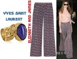 Anne Hathaway's Elizabeth and James Evelyn Wide Leg Printed Silk Pants And Yves Saint Laurent Arty Gold Plated Glass Ring