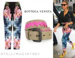 Beyonce Knowles' Stella McCartney Hawaiian Print Silk Pants And Bottega Veneta Two Tone Intrecciato Leather Belt