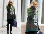 On The Set Of Gossip Girl With Blake Lively Wearing A Kaelen Ombre Jacket