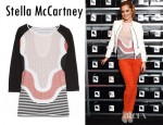 Cheryl Cole's Stella McCartney Printed Cotton Blend Top, KARL Oralee Layered Leather Biker Jacket And Yves Saint Laurent Mid Rise Skinny Jeans