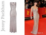 Christina Ricci's Jenny Packham Platinum Scoop Neck Ggown